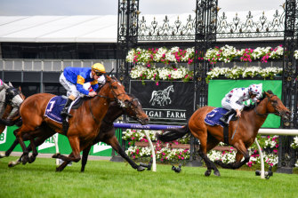 Santa Ana Lane flashes home for second behind Sunlight in last Saturday's Gilgai Stakes.