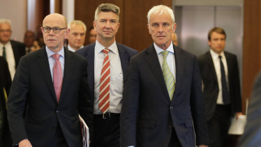 Matthias Mueller, right, CEO of the Volkswagen AG, and Thomas Steg, left, Volkswagen's former head of external relations, in August, 2017.