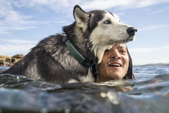 Mark and his husky Saskia cool off at North Bondi.