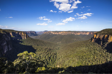 Scenic views across the Grose Valley as viewed from Govetts Leap lookout in the Blue Mountains.