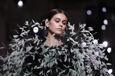 Model Kaia Gerber wears a creation for the Givenchy Haute Couture Fall-Winter 2020 collection.
