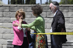 Worshipers console one another outside of the Chabad of Poway Synagogue.
