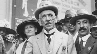 League of his own: Prime Minister Billy Hughes standing with a crowd in Sydney on his return from the Paris Peace Conference in 1919.
