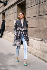 Not your plain Mary-Jane ... style influencer Olivia Palermo at Paris Fashion Week.