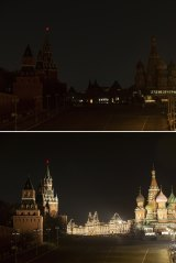 Before and after: The Kremlin and Red Square in Moscow turn out the lights for Earth Hour.