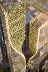 The twisting terraced tower on the BMW site would become Australia's tallest building at 365 metres.