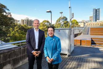 Environment Minister Matt Kean and Sydney lord mayor Clover Moore at the pollution monitoring site.