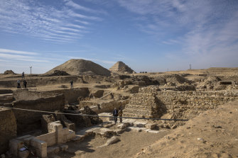 The excavation site where Egyptian archaeologist Zahi Hawass and his team unearthed a trove of ancient coffins, artifacts and skulls in a vast necropolis in Saqqara, south of Cairo,