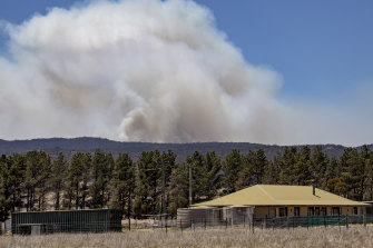 Plumes of smoke from a fire in Tallaganda State Forest, about 50km south-east of Canberra.