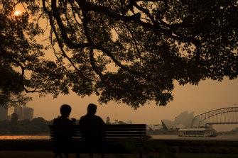 Bushfire smoke hangs over Sydney last week.