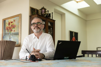 Lion beer chief executive officer Stuart Irvine, who has been working at home in Darling Point, Sydney, during the coronavirus pandemic.