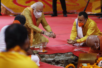 Indian Prime Minister Narendra Modi performs the groundbreaking ceremony of a temple dedicated to the Hindu god Ram, in Ayodhya, India.