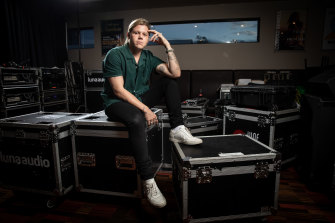 Singer Conrad Sewell backstage before a performance on the Gold Coast ahead of his appearance  at the Fire Fight Australia concert in Sydney on Sunday.