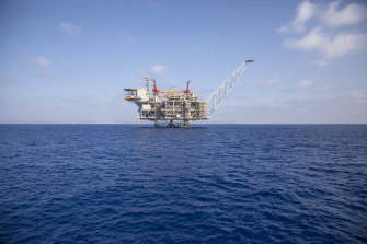 Israel's offshore Leviathan gas field in the Mediterranean Sea. Lebanon and Israel have reached an agreement on a framework of indirect talks over a longstanding disputed maritime border between the two countries