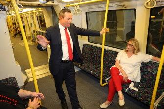 WA Premier Mark McGowan and Planning and Transport Minister Rita Saffioti on a TransPerth train.