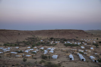A general view of Umm Rakouba refugee camp, in Qadarif, eastern Sudan, which is currently hosting Tigray people who fled the conflict in Ethiopia's north.