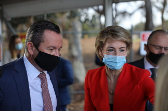 WA Premier Mark McGowan and Federal Attorney General Michaelia Cash in Perth on May 4.