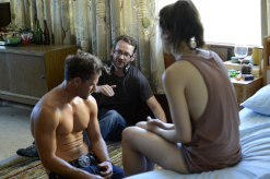 Director Zak Hilditch (centre) with Nathan Phillips and Jessica De Gouw on the set of These Final Hours.