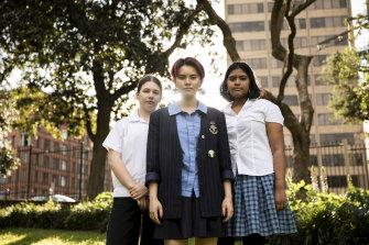 Veronica Hester, Imogen Kuah and Natasha Abhayawickrama are leading student climate actions on Friday.