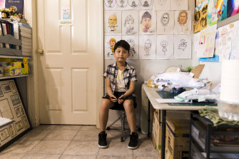 Ian Joseph Kim  at home in his father's studio in Lidcombe.