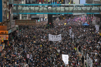 Protesters took to the streets of Causeway Bay in Hong Kong on new year's day.