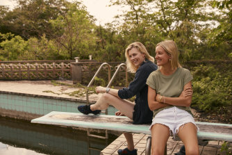 Director Gracie Otto, left, and producer Cody Greenwood in 2019 on the diving board where rock stars once sunbathed.