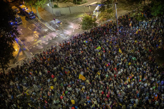 Pro-independence demonstrators gather next to the Interior Department in Catalonia., Spain.