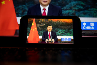 Chinese President Xi Jinping delivers a pre-recorded address to the United Nations General Assembly in New York, on Tuesday.