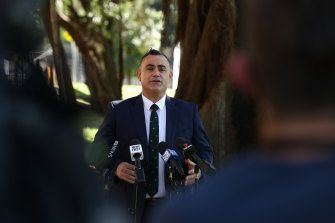 NSW Nationals Leader John Barilaro announces he will resign as NSW Deputy Premier at Parliament House in Sydney on October 4, 2021.