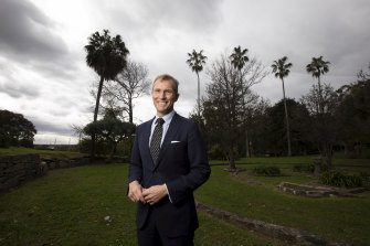 Planning and Public Spaces Minister Rob Stokes at Callan Park in Sydney's inner west.