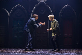 Sean Rees-Wemyss, left, as Albus Potter and Nyx Calder as Scorpius Malfoy.