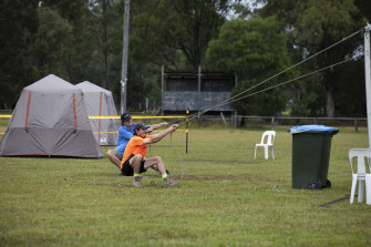 A marquee being set up at the police camp in Cann River.