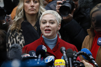 Actress Rose McGowan outside court during Harvey Weinstein's trial.