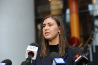 Brittany Higgins speaks to the media after meeting with the Prime Minister Scott Morrison in April.
