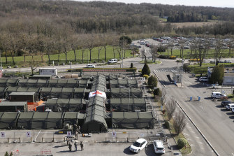 The military field hospital built in Mulhouse, eastern France.