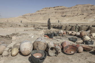 Items found in the newly unearthed city, located between the temple of King Rameses III and the colossi of Amenhotep III on the west bank of the Nile in Luxor.