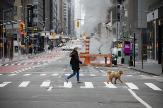 A pedestrian wearing a mask walks a dog across deserted Madison Avenue in New York City.