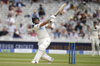 New Zealand's Ross Taylor plays a shot off the bowling of England's Ollie Robinson.