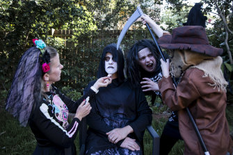 Siobhan Reynolds and James Rooney, and their kids, Niamh, 11, and Callum, 10, will be having a Halloween party in their backyard in East Ryde, Sydney.