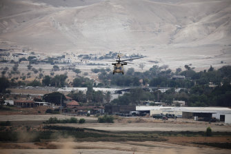 A helicopter takes off carrying Prime Minister Benjamin Netanyahu after a cabinet meeting in the West Bank.