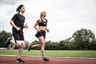 Rohan Browning training in Italy with fellow Australian athlete Liz Clay.