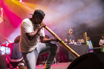 Baker Boy plays the didgeridoo at the National Indigenous Awards in Darwin, 2019.