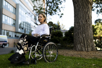 Stephenie Rodriguez photographed outside St Vincent's Private Hospital, her first time outside in nearly two months.