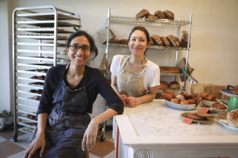Flour Shop's owners and bakers Anu Haran (left) and Laura Gonzalez.