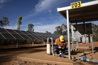 Renewable energy jobs will help the regions. This solar array is at Glencore's copper mine near Cobar in the state's north-west.