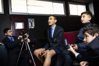 Punchbowl Boys High School students Amin Aggag, Jacob Khalil, Jayden Gwynne, Mazhar Tayba and Leonardo Ziade hone their video skills.