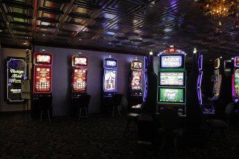 Gambling machines in Las Vegas have been spread apart to allow social distancing between gamblers.