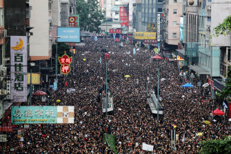 Nearly 2 million protesters marched through the streets of Hong Kong on Sunday to protest the unpopular extradition bill.
