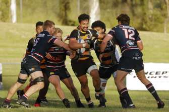 Penrith Emus taking on Eastern Suburbs at Nepean Park in the Shute Shield.