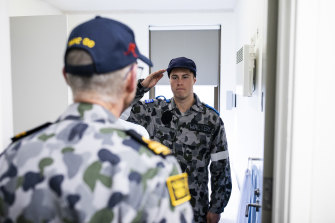 Corbin Dal Walters' room is inspected by LUT Allen Trent during their New Entry Officers' Course in Jervis Bay.